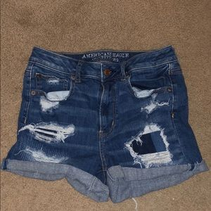 High-Wasted Distressed American Eagle Denim Shorts